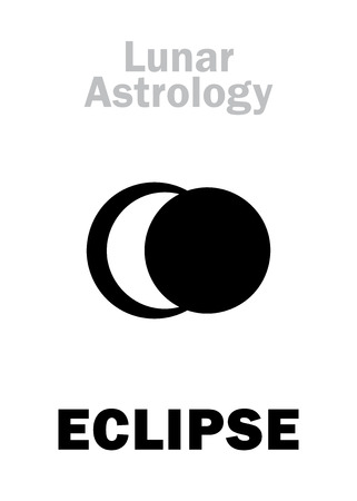 underside: Astrology Alphabet: Lunar ECLIPSE, astronomical phenomenon. Hieroglyphics character sign (single symbol). Illustration