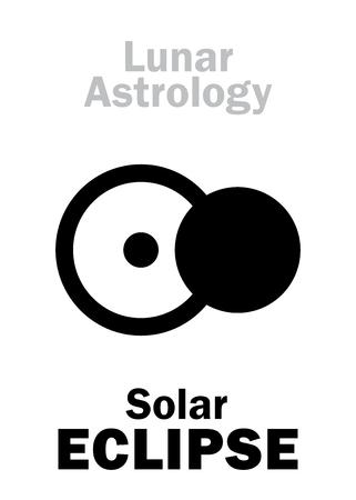 Astrology Alphabet: Solar ECLIPSE, astronomical phenomenon. Hieroglyphics character sign (single symbol).