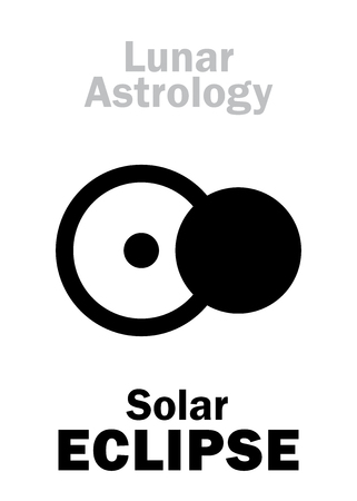underside: Astrology Alphabet: Solar ECLIPSE, astronomical phenomenon. Hieroglyphics character sign (single symbol).