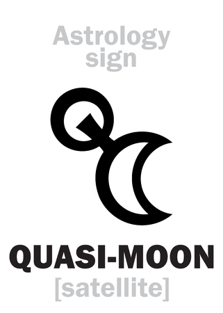 Astrology Alphabet: Quasi-MOON (trojan asteroid-satellite of planet). Hieroglyphics character sign (single symbol).
