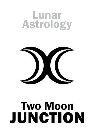 Astrology Alphabet: Two MOON junction. Hieroglyphics character sign (single symbol).