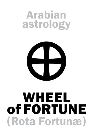 Astrology Alphabet: WHEEL of FORTUNE (Rota Fortun�), point of horoscope. Hieroglyphics character sign (single symbol).