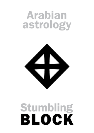 Astrology Alphabet: stumbling BLOCK (Stone), Arabian point of horoscope. Hieroglyphics character sign (single symbol). Vettoriali
