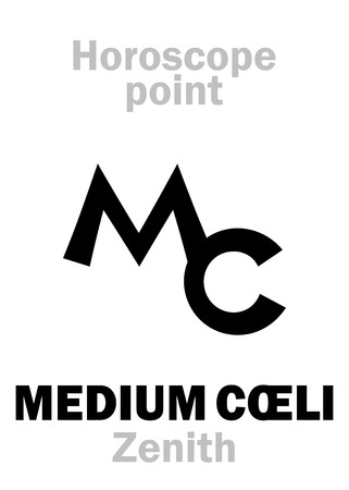 Astrology Alphabet: MEDIUM CŒLI (Zenith), Middle of The Sky (Midheaven), point of Horoscope. Hieroglyphics character sign (single symbol).
