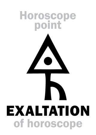 Astrology Alphabet: EXALTATION of Horoscope, The place on astrological chart. Hieroglyphics character sign (single symbol). Illustration