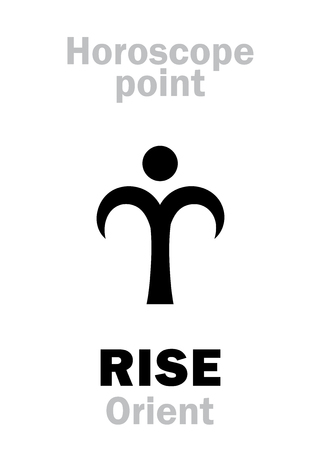 beginnings: Astrology Alphabet: RISE (Orient), time and point in Astrological chart. Hieroglyphics character sign (single symbol).