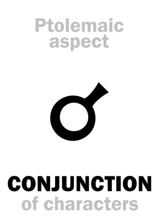Astrology Alphabet: CONJUNCTION (0°) of characteristics, classic major Ptolemaic aspect. Hieroglyphics character sign (single symbol).