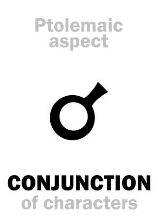 concordance: Astrology Alphabet: CONJUNCTION (0�) of characteristics, classic major Ptolemaic aspect. Hieroglyphics character sign (single symbol).