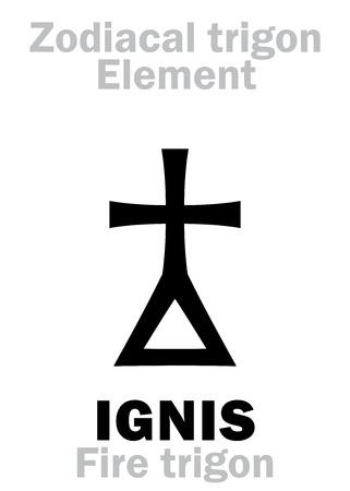Alfabeto de Astrologia: IGNIS Trigon (Elemento de Fogo / Energia), a fragilidade e a perecabilidade do Ser. Signo de personagem de Hieroglyphics (símbolo único). Foto de archivo - 81169415