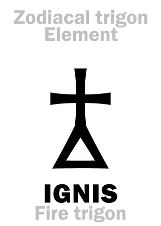 Astrology Alphabet: IGNIS Trigon (Element of Fire  Energy), the frailty and perishability of Being. Hieroglyphics character sign (single symbol). Illustration