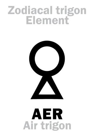 Astrology Alphabet: AER Trigon (Element of Air  Spirit), the levity of Being. Hieroglyphics character sign (single symbol).
