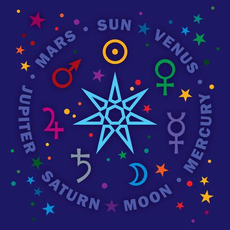 «Septener». La antigua estrella de los magos medievales. Siete planetas clásicos de Astrología. (Versión Gem). Ilustración de vector