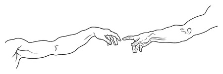 universal love: The Creation of Adam. The hand of Man and The hand of God. A section of Michelangelos fresco Sistine Chapel ceiling painted c.1511. (Long full fragment: detailed vector outline drawing). Vectores