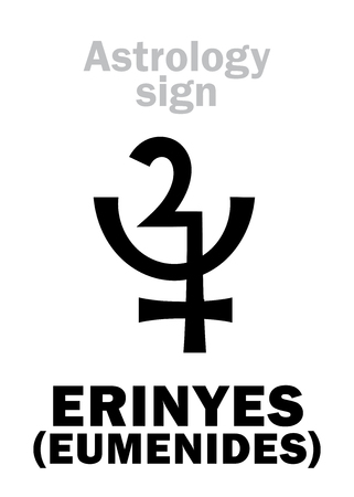 Astrology Alphabet: ERINYES (Eumenides), asteroid #889. Hieroglyphics character sign (single symbol).