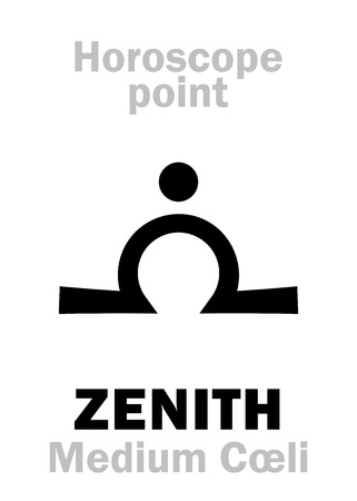 Astrology Alphabet: ZENITH (Medium Cœli), time and point in Astrological chart. Hieroglyphics character sign (single symbol).