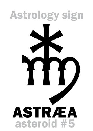 Astrology Alphabet: ASTRÆA, asteroid #5. Hieroglyphics character sign (single symbol).