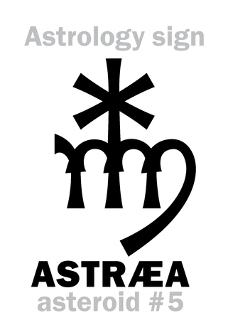 Astrology Alphabet: ASTR�A, asteroid #5. Hieroglyphics character sign (single symbol). Illustration