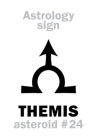 hermetic: Astrology Alphabet: THEMIS, asteroid #24. Hieroglyphics character sign (single symbol). Illustration