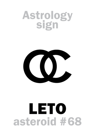 Astrology Alphabet: LETO (Latona), asteroid #68. Hieroglyphics character sign (single symbol). Illustration