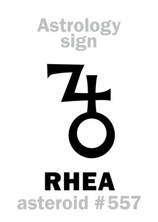 Astrology Alphabet: RHEA, asteroid #557. Hieroglyphics character sign (single symbol). Illustration