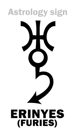 Astrology Alphabet: ERINYES (Furies), asteroid #889. Hieroglyphics character sign (single symbol).