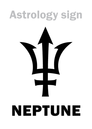 Astrology Alphabet: NEPTUNE (Poseidons trident), higher global planet. Hieroglyphics character sign (single symbol). Иллюстрация