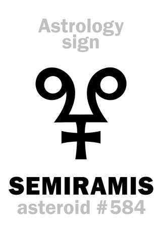 Astrology Alphabet: SEMIRAMIS, asteroid #584. Hieroglyphics character sign (single symbol).