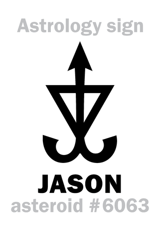 resplendence: Astrology Alphabet: JASON, asteroid #6063. Hieroglyphics character sign (single symbol). Illustration