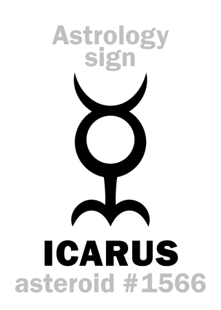 Astrology Alphabet: ICARUS, asteroid #1566. Hieroglyphics character sign (single symbol).