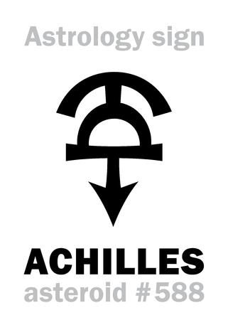Astrology Alphabet: ACHILLES, asteroid #588. Hieroglyphics character sign (single symbol). Illustration