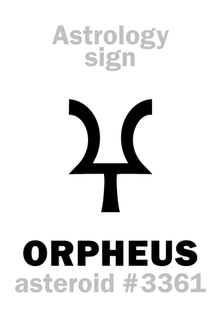 Astrology Alphabet: ORPHEUS, asteroid #3361. Hieroglyphics character sign (single symbol).