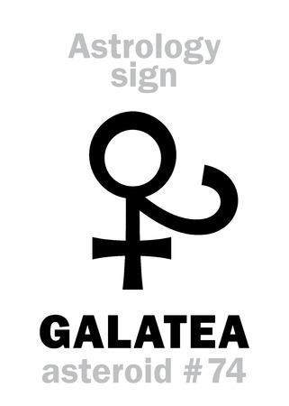 Astrology Alphabet: GALATEA, asteroid #74. Hieroglyphics character sign (single symbol). Illustration
