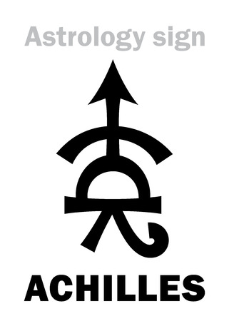 virile: Astrology Alphabet: ACHILLES, asteroid #588. Hieroglyphics character sign (single symbol). Illustration