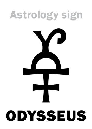 Astrology Alphabet: ODYSSEUS (Ulysses), asteroid #1143. Hieroglyphics character sign (single symbol).