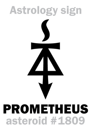 Astrology Alphabet: PROMETHEUS, asteroid #1809. Hieroglyphics character sign (single symbol).