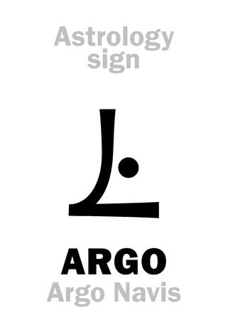 Astrology Alphabet: ARGO (Argo Navis), constellation. Hieroglyphics character sign (single symbol). Illustration