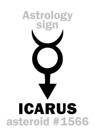 hermetic: Astrology Alphabet: ICARUS, asteroid #1566. Hieroglyphics character sign (single symbol).