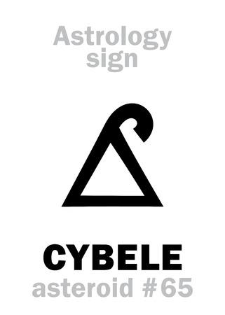 anatolian: Astrology Alphabet: CYBELE (Magna Mater), asteroid #65. Hieroglyphics character sign (single symbol).