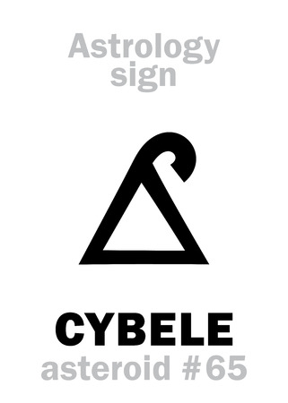 Astrology Alphabet: CYBELE (Magna Mater), asteroid #65. Hieroglyphics character sign (single symbol).