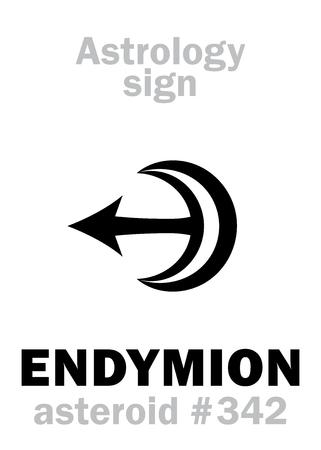 Astrology Alphabet: ENDYMION, asteroid #342. Hieroglyphics character sign (single symbol). Illustration