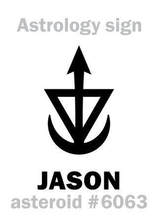 Astrology Alphabet: JASON, asteroid #6063. Hieroglyphics character sign (single symbol). Illustration