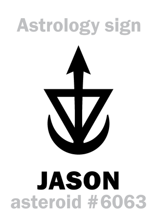 Astrology Alphabet: JASON, asteroid #6063. Hieroglyphics character sign (single symbol). Vettoriali