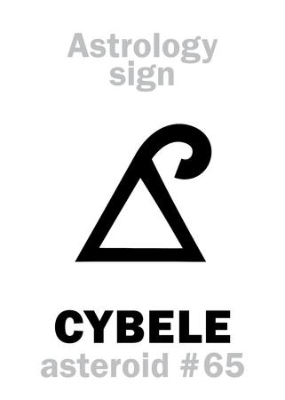 anatolian: Astrology Alphabet: CYBELE (Phrygia), asteroid #65. Hieroglyphics character sign (single symbol).