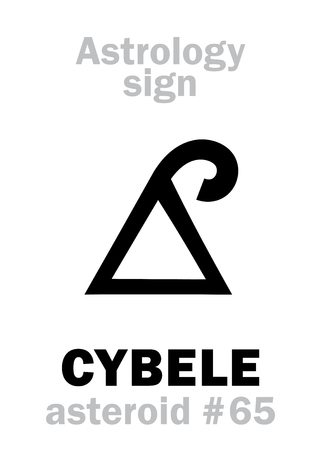 Astrology Alphabet: CYBELE (Phrygia), asteroid #65. Hieroglyphics character sign (single symbol). Stock Vector - 83425970