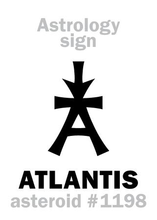 Astrology Alphabet: ATLANTIS, asteroid #1198. Hieroglyphics character sign (single symbol).