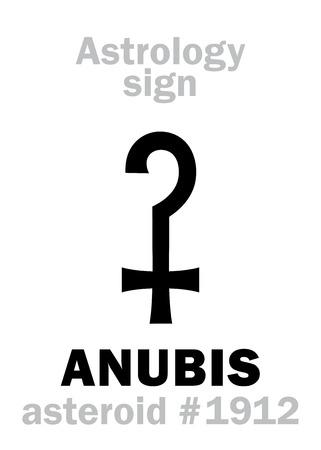 Astrology Alphabet: ANUBIS (Anpu), asteroid #1912. Hieroglyphics character sign (single symbol).