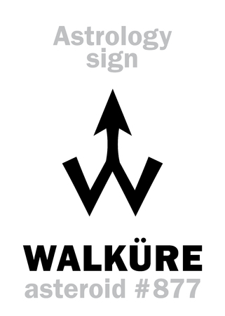 Astrology Alphabet: WALK�RE (Valkyrie), asteroid #877. Hieroglyphics character sign (single symbol).