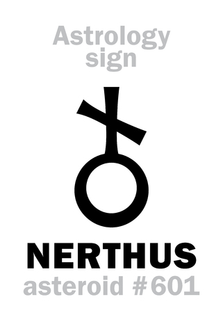 Astrology Alphabet: NERTHUS, asteroid #601. Hieroglyphics character sign (single symbol).