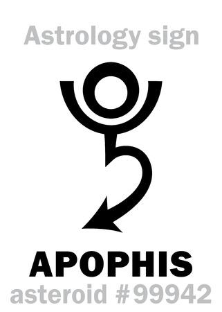 Alfabeto de Astrología: APOPHIS (Apep), peligroso asteroide # 99942. Signo de carácter jeroglífico (símbolo único). Foto de archivo - 84409870