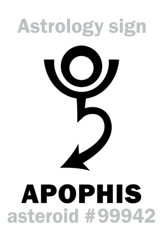 Astrology Alphabet: APOPHIS (Apep), dangerous asteroid #99942. Hieroglyphics character sign (single symbol). 向量圖像
